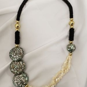 Vintage Jewelry - Vintage Mother of Pearl and Abalone Statement Neck